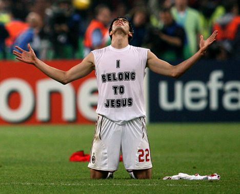 AC Milan's Kaka celebrates at the final whistle falling to his knees (right) after beating Liverpool in the 2007 Champions League final.