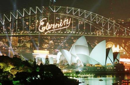 """Arthur Stace's """"Eternity"""" lit up Sydney's Habour Bridge after a spectacular fireworks display welcomed in the year 2000 to Sydney January 1."""